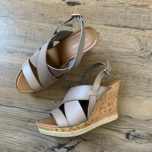 Maurices Wedge Sandal Heel Edee Taupe Strappy 9